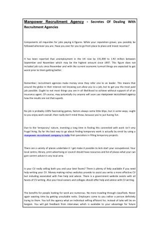 Manpower Recruitment Agency - Secretes Of Dealing With Recruitment Agencies