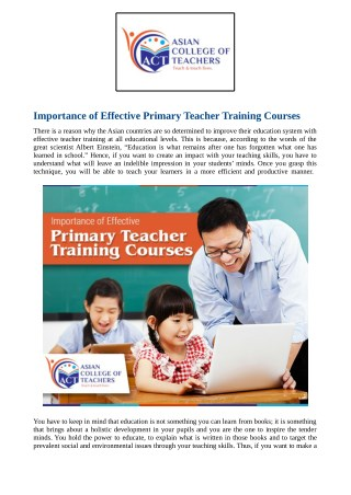 Importance of Effective Primary Teacher Training Courses