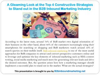 A Gleaming Look at the Top 4 Constructive Strategies to Stand out in the B2B Inbound Marketing Industry