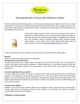 Ayurvedic Medicine Online- Biogreen Healthcare