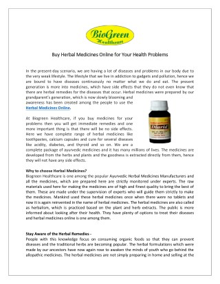 Herbal Medicine Online - Biogreen Healthcare