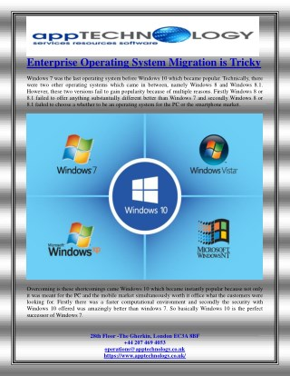 Enterprise Operating System Migration is Tricky