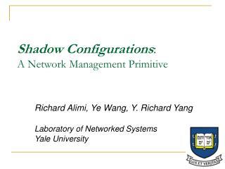 Shadow Configurations: A Network Management Primitive