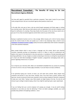 Recruitment Consultant - The Benefits Of Using An On Line Recruitment Agency WebsiteRecruitment Consultant - The Benefit