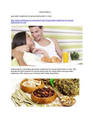 ayurvedic medicines for sexual dysfunction in men