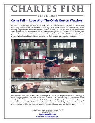 Come Fall In Love With The Olivia Burton Watches!