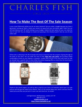 How To Make The Best Of The Sale Season