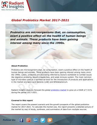 Probiotics Market Research Report, 2017 - 2021:Radiant Insights, Inc