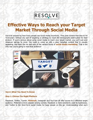 Effective Ways to Reach your Target Market Through Social Media