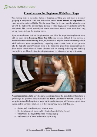 Piano Lessons For Beginners With Basic Steps