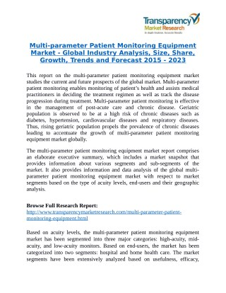 Multi-parameter Patient Monitoring Equipment Market Research Report Forecast to 2023