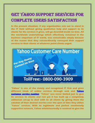 Get Yahoo Support Services for Complete Users Satisfaction
