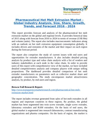 Pharmaceutical Hot Melt Extrusion Market is expanding at a CAGR of 3.90% from 2016 to 2024