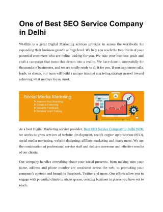 One of Best SEO Service Company in Delhi