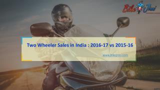 Two Wheeler Sales in India 2016-17 vs 2015-16