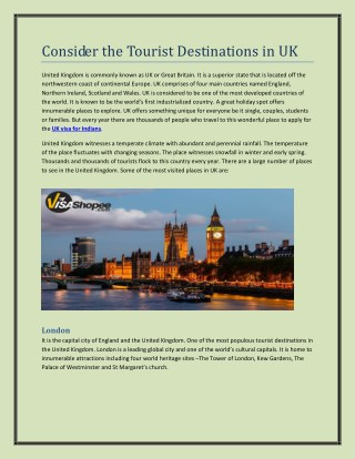 Consider the Tourist Destinations in UK