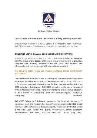 Brilliant Vidya Bhavan CBSE School in Coimbatore