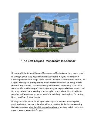 Kalyana Mandapam in Chennai | Marriage Halls | Wedding Hall | Vijay Raja Thirumana Mandapam