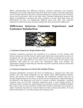 Customer Experience Is Much More Than Customer Satisfaction