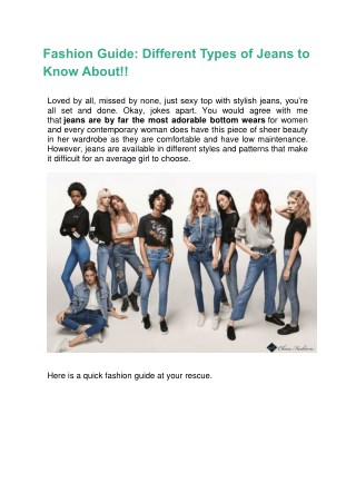 Fashion Guide: Different Types of Jeans to Know About!!