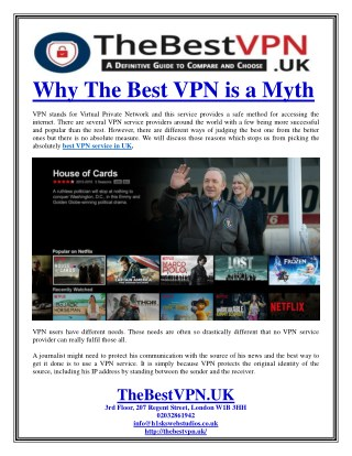 Why The Best VPN is a Myth