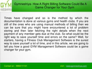 How A Right Billing Software Could Be A Game Changer for Your Gym