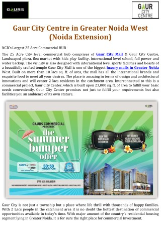 Gaur City Centre in Greater Noida West (Noida Extension)