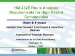 HM-232E Route Analysis Requirements for High Hazard Commodities