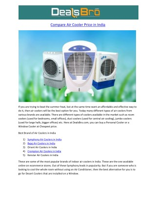 Air Cooler Price In India