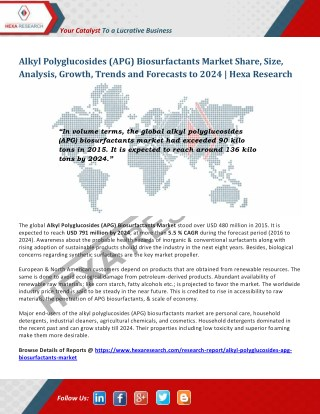 Alkyl Polyglucosides (APG) Biosurfactants Market Worth USD 791 Million by 2024 - Hexa Research