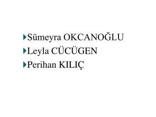 S meyra OKCANOGLU Leyla C C GEN Perihan KILI