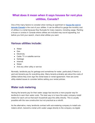 What does it mean when it says houses for rent plus utilities, Canada?