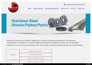 Stainless Steel Sheets/Pattas/Pattis