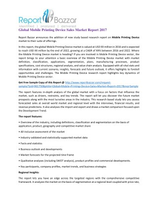 Global Mobile Printing Device Sales Market Report 2017
