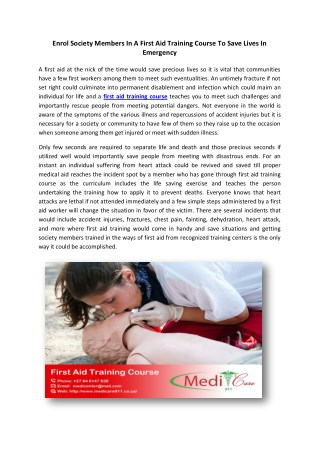 Enrol Society Members In A First Aid Training Course