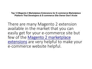 Top 12 Magento 2 Marketplace Extensions for E-commerce Marketplace Platform That Developers & E-commerce Site Owner Don'