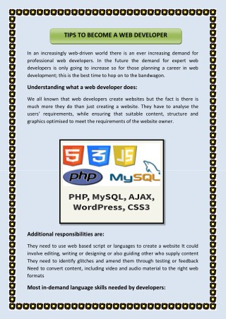 TIPS TO BECOME A WEB DEVELOPER