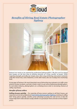 Benefits of Hiring Real Estate Photographer Sydney