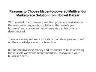 Reasons to Choose Magento-powered Multivendor Marketplace Solution from Rocket Bazaar