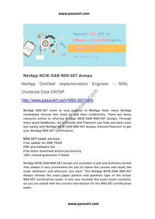 NetApp NCIE-SAN NS0-507 dumps
