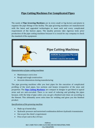 Pipe Cutting Machines For Complicated Pipes