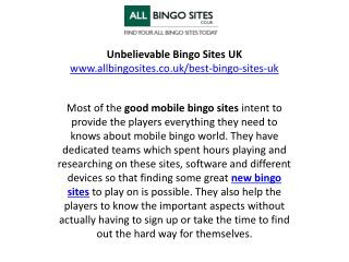 Unbelievable Bingo Sites UK