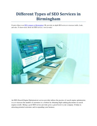 Different Types of SEO Services in   Birmingham