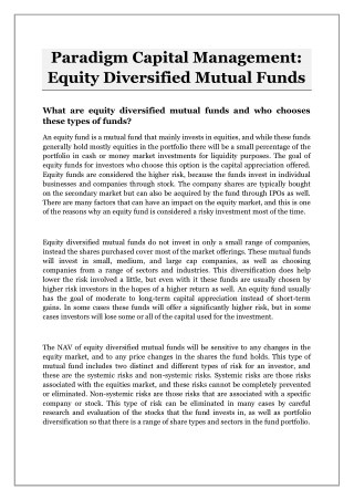 Paradigm Capital Management: Equity Diversified Mutual Funds