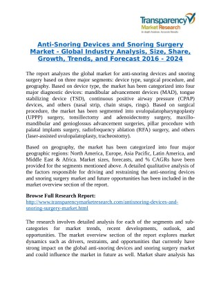 Anti-Snoring Devices and Snoring Surgery Market - Positive long-term growth outlook 2024