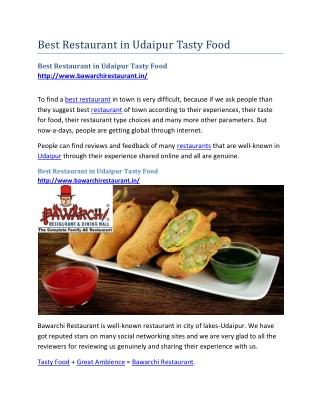 Best Restaurant in Udaipur Tasty Food