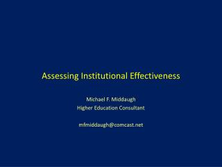 Assessing Institutional Effectiveness