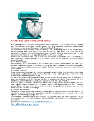 Kitchen area Stand Mixers Buying Manual