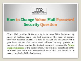 How to Change Yahoo Mail Password Security Question