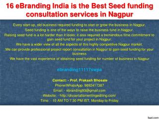16 eBranding India is the Best Seed funding consultation services in Nagpur